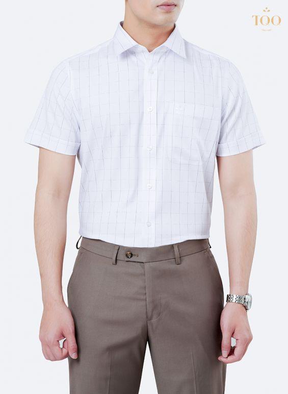 Áo sơ mi nam trắng ngắn tay kẻ ô nhỏ K466CB