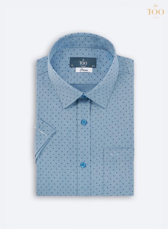 Mẫu áo sơ mi H318CB với màu xanh biển đậm - màu sắc