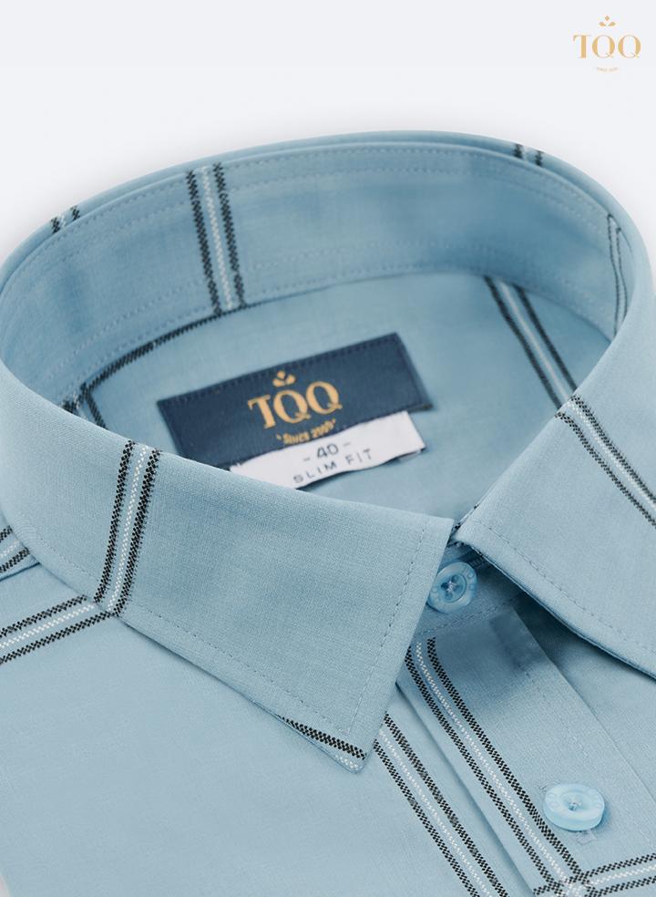 Áo sơ mi ngắn tay xanh ngọc nhạt K464CB