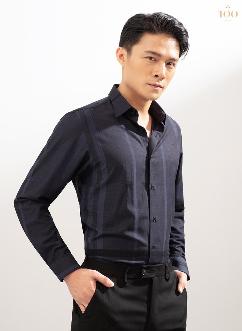 Mẫu áo sơ mi nam sang trọng màu tím than K422CS